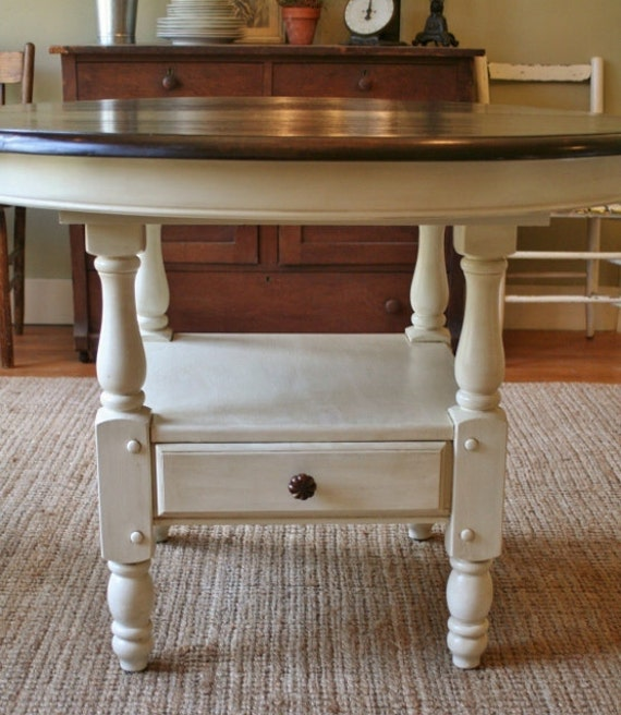 Vintage Antiqued Painted Shabby Chic Round Dining Table
