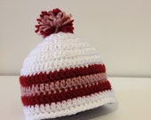 White with Red & Pink Pom Pom Hat - Newborn to 3 months / 3-6 months / 6-12 months- Crochet with Pom Pom - Baby Girl Hat - Bring Home Baby