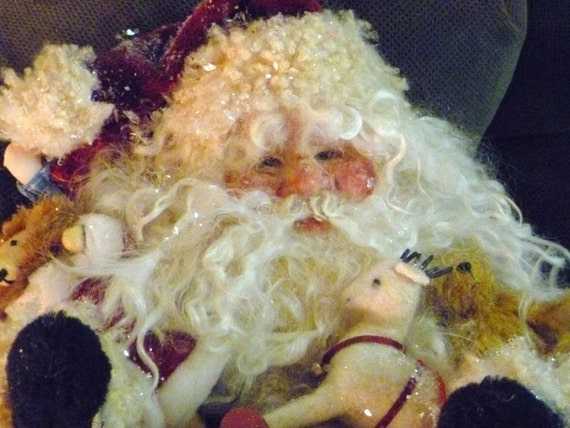 One Of A Kind Santa Claus Art Doll With Vintage Inspired Toys