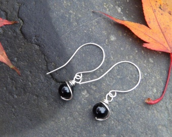 Sterling Silver Wire Wrapped Black Onyx Round Beads