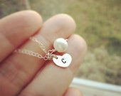 Petite Sterling Silver Heart and Pearl Necklace -   Personalized Initial Necklace - All 925 Sterling Silver