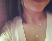 Gold Cross and Initial Necklace/ Personalized 14K Gold Filled Sideways Cross and Initial Necklace - Everyday Jewelry - All 14k Gold Filled