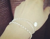 Set of 3 - Sterling Silver Three Layered Initial Bracelets - Heavy and Strong Chains - Three Layers - Everyday Jewelry