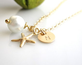 TINY 14K Gold Filled Starfish Charm with Pearl Necklace / Initial Necklaces /bridal shower / Wedding Necklace/ Beach Wedding Jewelry