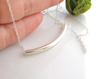 Bar Necklace - Sterling Silver Curved Bar Necklace - Modern Layering Jewelry - Curved Bar Necklace  - All Sterling Silver - Everyday Wear