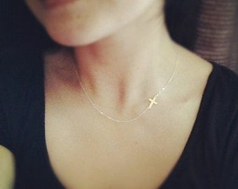 Sideways Cross Necklace - Cross Necklace/ Rose Gold Filled Sideways Cross Necklace - Faith Cross Necklace - Everyday Jewelry/ Holiday Gift/