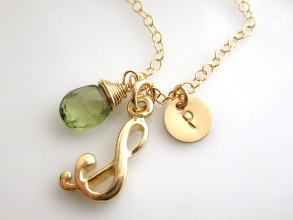 Tiny Musical Note ,gemstone ,Custom Initial Necklace - Personalization Gift - All Gold Filled ,Vermeil