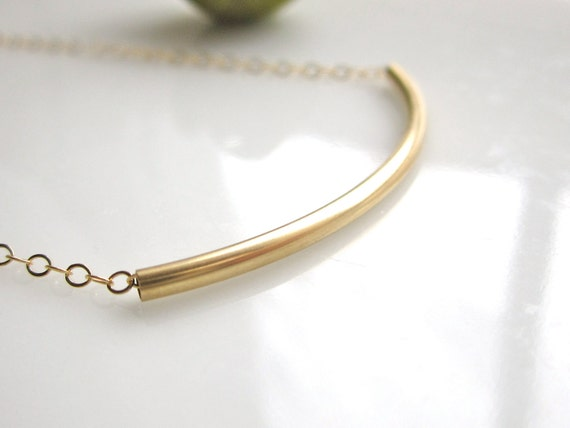 Gold Bar Necklace/ Gold Curved Bar Necklace / Curved Bar Necklace / 14K Gold Filled Curved Bar Necklace / Modern Jewelry / Everyday Wear
