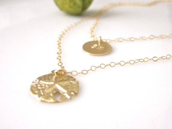 14K Gold Filled Initial and Sand Dollar layered Necklace - Personalized Beach Jewelry - Available in 14K Gold Filled and Sterling Silver