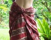 Maroon Red Silk Sarong Sari Scarf extra large red scarf silk pareo