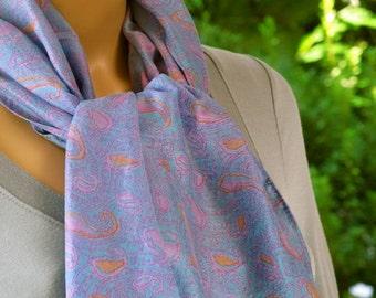 Blue Silk scarf, Sari scarf, Paisley Scarf