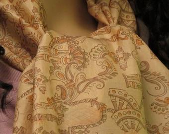 Beige scarf, silk scarf