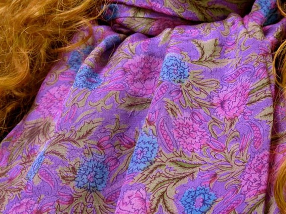 Purple Silk scarf extra large