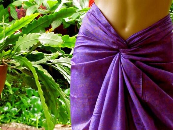 Purple Hand Made Silk Sarong, silk sari scarf, purple scarf