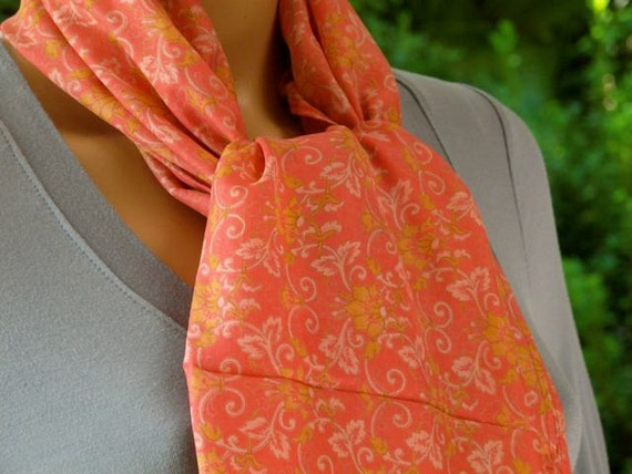 Peach Silk scarf, Sari scarf, Peach Scarf