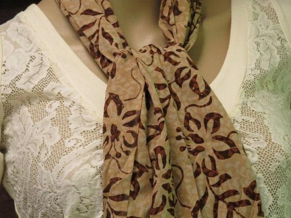 Batik Scarf, Brown Scarf, Autumn Scarf
