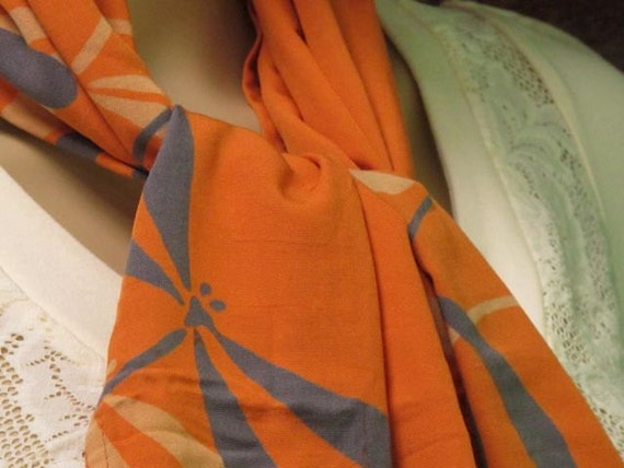 Handprinted Scarf, Summer Scarf, Head Scarf, Orange Scarf