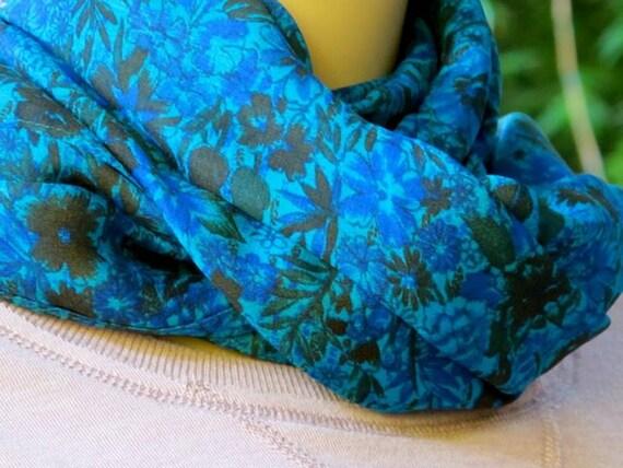 Silk scarf, Summer Scarf, Sari scarf, Floral scarf