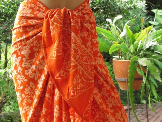 Sarong, Beach Sarong, Pareo, Orange Scarf, Wrap