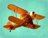Vintage Airplane Art Print - Antique Plane Nursery Boy Room Biplane Orange Aqua Yellow Aviation Flying Photo