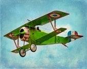 Vintage Airplane Art Print - Green Blue Nursery Biplane Boys Room Flying Aviation Home Decor Wall Art Photograph