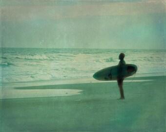 Vintage Surf Art Print - Beach Blue Aqua Green Foggy Surfer Silhouette Beach House Wall Art Home Decor Photograph