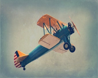 Vintage Airplane Art Print - Blue Yellow White Nursery Boy Room Home Decor Flying Aviation Biplane Antique Photograph