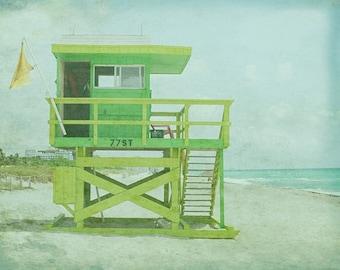 Lifeguard Beach Art Print - Green Aqua Pastel VIntage Beach House Wall Art Photograph