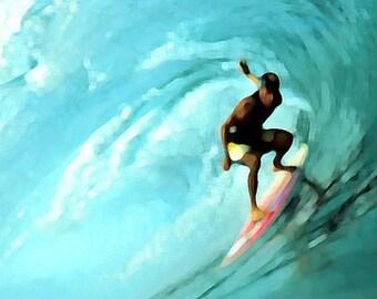 Surfing Art Print - Aqua Surf Art Beach House Wall Art Home Decor Painting Photograph