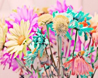 Flower Art Print - Spring Summer Nursery Girl Room Home Decor Wall art Pink Aqua Yellow Surreal Garden Photograph