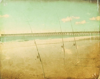 Vintage Surf Fishing Beach Art Print - Aqua Green Dreamy Soft Pastel Ocean Beach House Decor Photograph