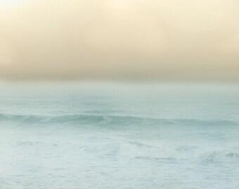 Beach Dreamy Art Print - Soft Pastel Surreal Fog Blue Peach Yellow Aqua Beach House Wall Art Home Decor Photograph