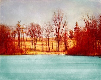 Lake Trees Fall Art Print - Aqua Red Yellow Vintage Home Decor Vintage Wall Art Photograph