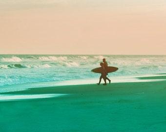 Beach Surfer Art Print - Silhouette Pink Aqua Green Beach House Wall Art Home Decor Ocean Surfing Photograph