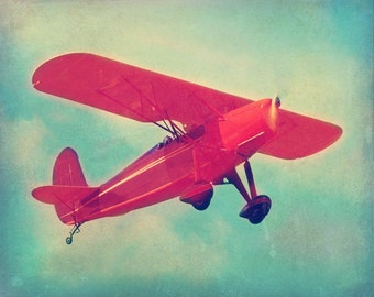 Antique Airplane Art Print - Nursery Children Boy Room Aqua Red Vintage Aviation Flying Home Decor Photograph