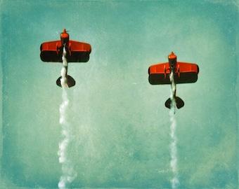 Vintage Airplane Print - Aviation Nursery Flying Boys Room Wall Decor Plane Biplane Aqua Orange Photograph