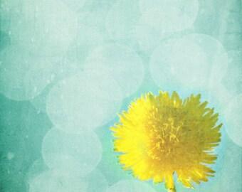 Dandelion Art Print - Yellow Aqua Surreal Bokeh Nursery Home Decor Summer Wall Art Garden Spring Photograph