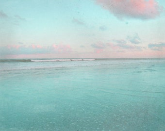 Beach Art Print - Vintage Blue Pink Surf Sky Sunset Beach House Home Decor Wall Art Photograph