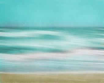 Beach Abstract Surreal Art Print - Aqua Blue Green Teal Blur Beach House Nursery Soft Summer Home Decor Photograph