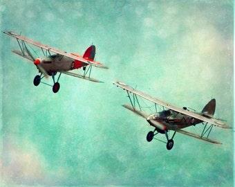 Airplane Vintage Art Print - Nursery Aqua Red Silver Boy Room Home Decor Biplane Plane Flying Aviation Wall Art Photograph
