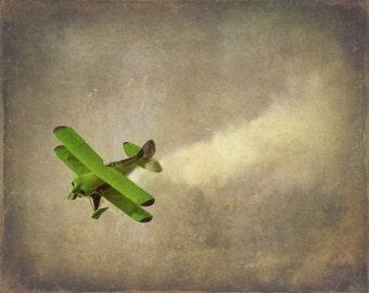 Vintage Airplane Art Print - Nursery Biplane Green Gray Military Flying Aviation Boy Room Children Plane Home Decor Wall Art Photogragh