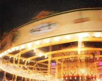 Carousel Carnival Art Print - Yellow Peach Navy Night Sky Fair Nursery Wall Art Home Decor Photography