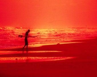 Surfer Silhouette Beach Art Print - Red Black Surf Ocean Beach House Decor Bright Color Wall Art Photo