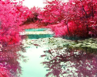 Pond Art Print - Red Trees Fall Home Decor Wall Art Aqua Water Reflection Soft Nature Rustic Photography