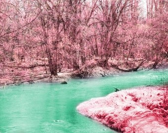 River Trees Art Print - Pink Green Aqua Nursery Girls Room Home Decor Whimsical Dreamy Surreal Spring Summer Photograph