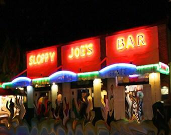 Sloppy Joes Bar - Key West Florida Photo - Red Orange Neon Beach Painting Art photograph