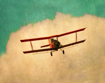 Vintage Airplane Art Print - Nursery Biplane Aqua Red Boy Room Wall Art Aviation Flying Clouds Sky Plane Photography