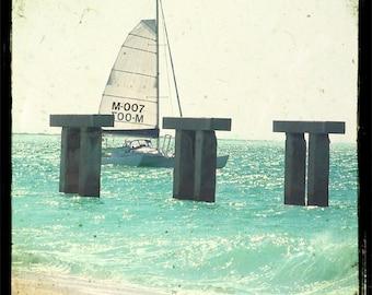 Sailboat TTV Art Print - Aqua White Nautical Beach Wall Art Home Decor Photograph