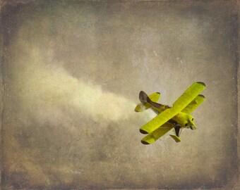 Vintage Airplane Art Print - Nursery Biplane Yellow Gray Decor Military Flying Aviation Boy Room Children Plane Home Wall Art Photogragh