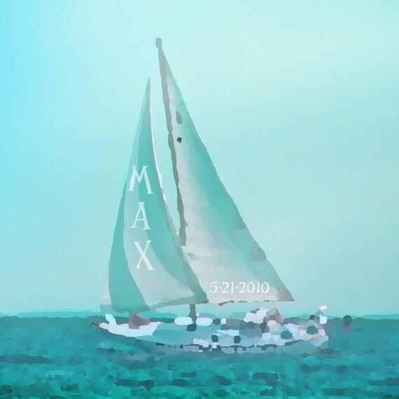 Sailboat Nursery Art Personalized Custom Name Art Print - Nautical Blue Aqua Baby Children Ocean Photograph